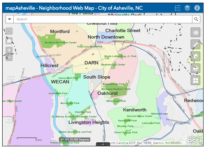 City of Asheville launches interactive neighborhood map | The City Asheville Nc Downtown Map on