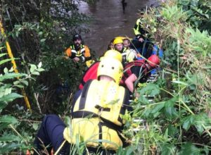 Asheville Fire Department brought two people to safety in a swift water rescue on the Swannanoa River.