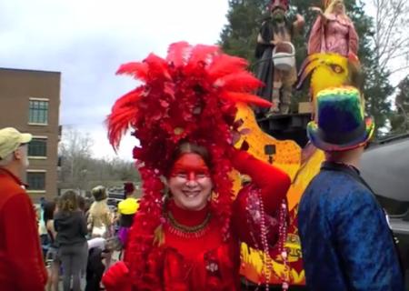 Asheville Mardi Gras parade scene