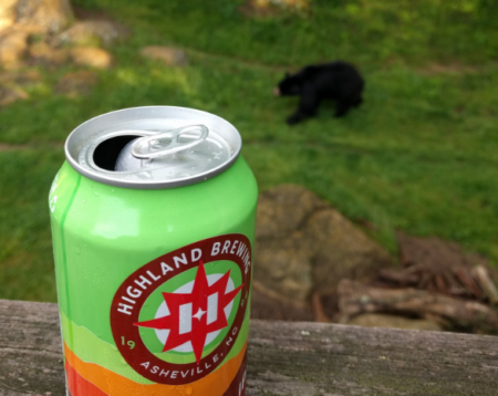 Highland beer with bear in the backgound